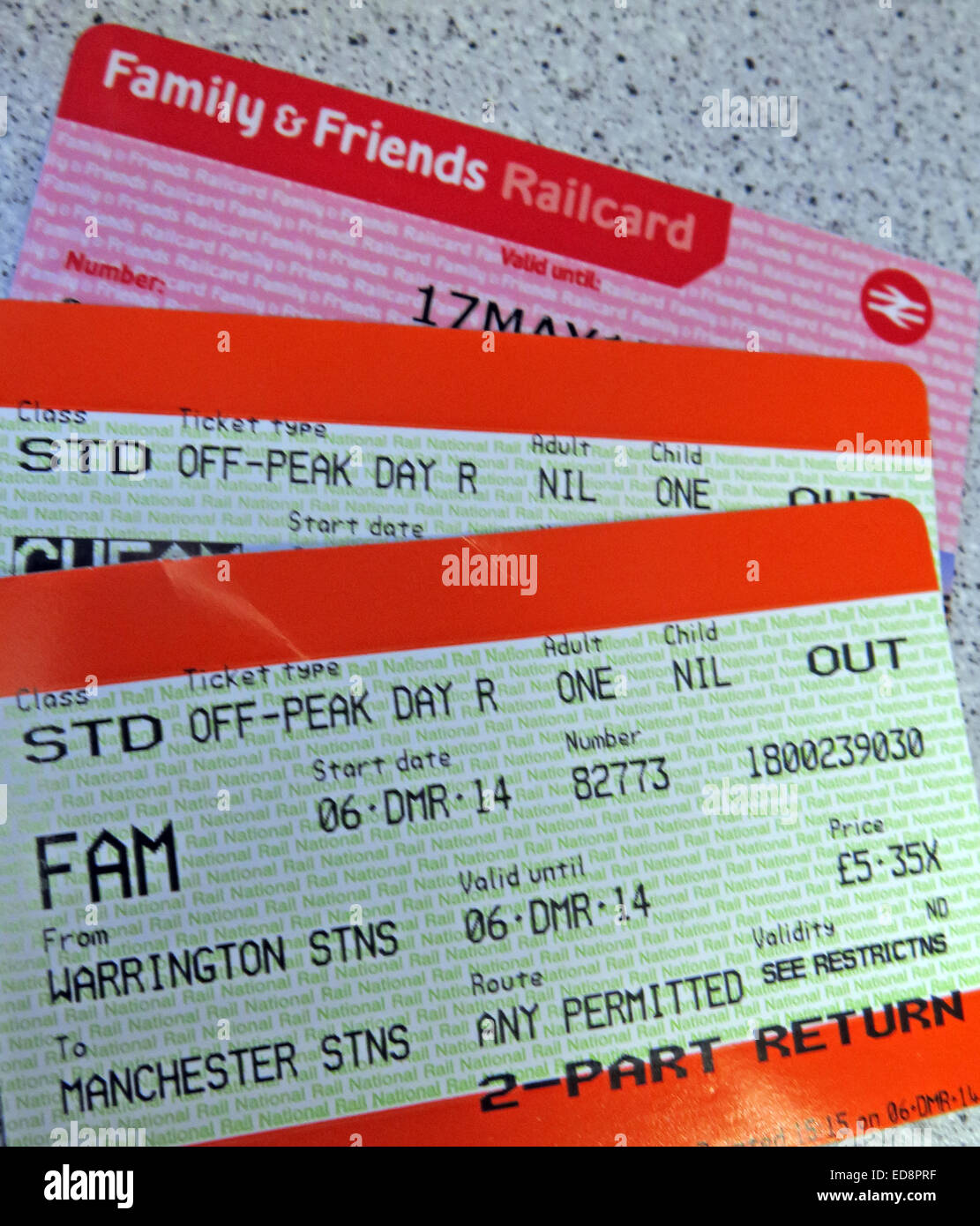 Tickets with a UK rail family railcard - Friends & Family - Stock Image