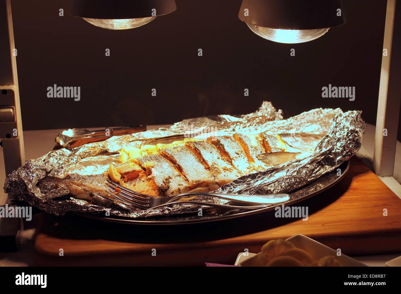 Baked Salmon - Stock Image
