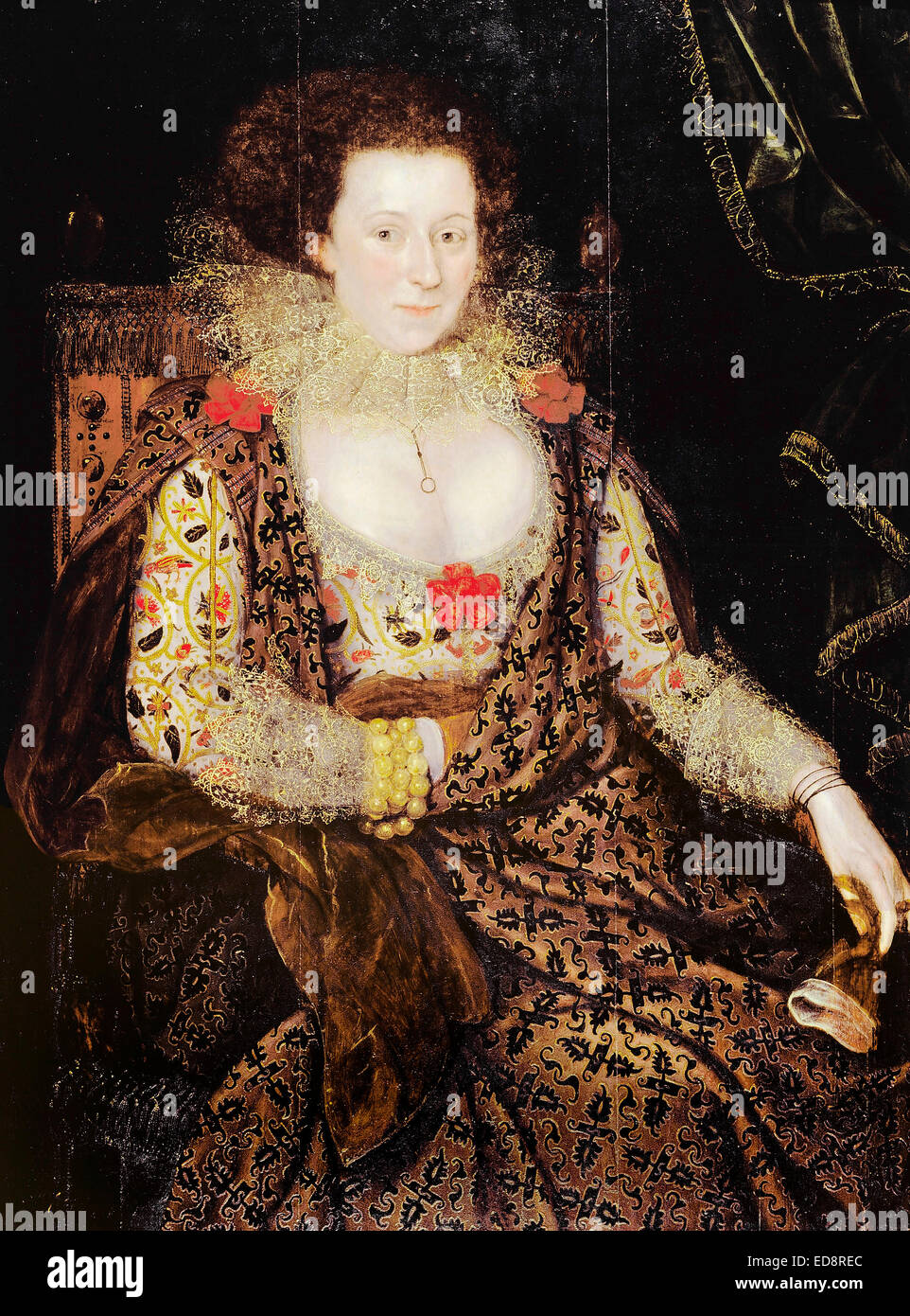 Marcus the younger Gheeraerts, Portrait of a Lady. Circa 1615-1618. Oil on panel. Dulwich Picture Gallery, London, - Stock Image