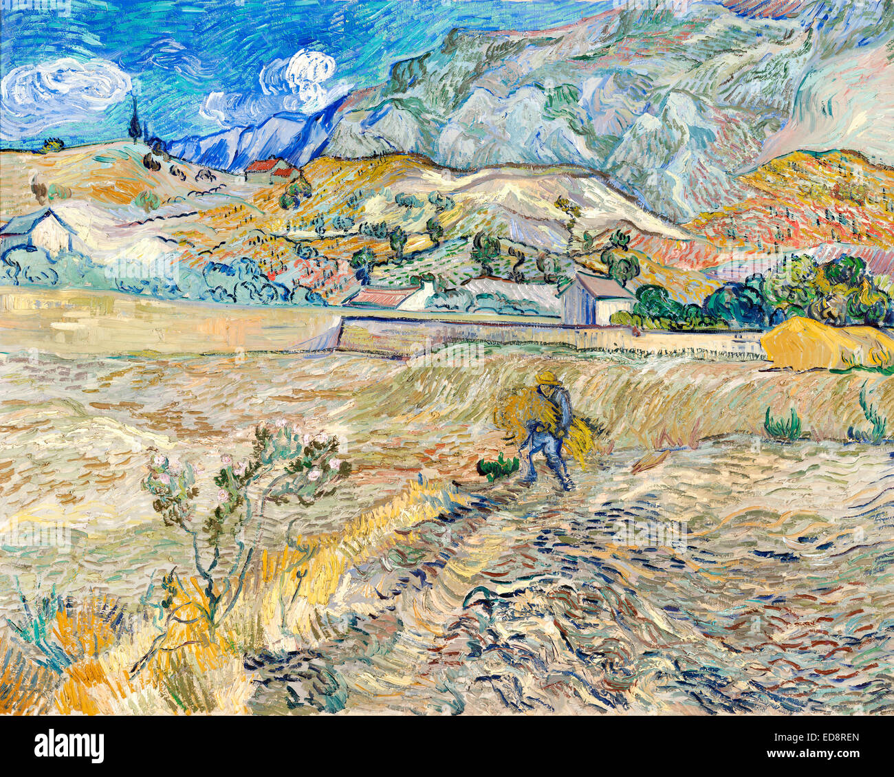 Vincent van Gogh, Enclosed Wheat Field with Peasant (Landscape at Saint-Remy) 1889 Oil on canvas. Indianapolis Museum - Stock Image