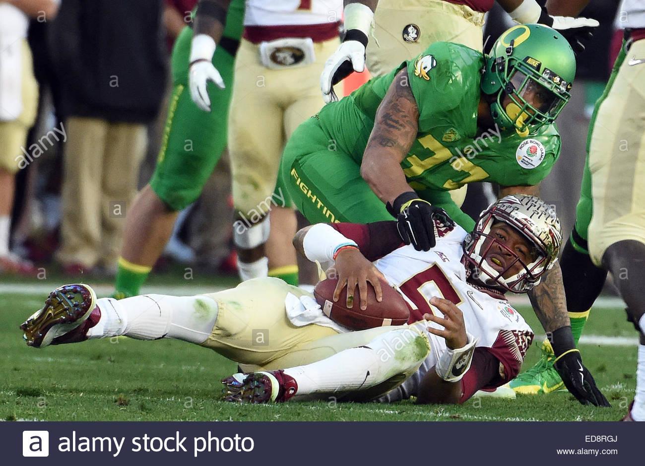 Pasadena, California, USA. 01st Jan, 2015. Florida State Seminoles quarterback Jameis Winston (5) after being tackled - Stock Image