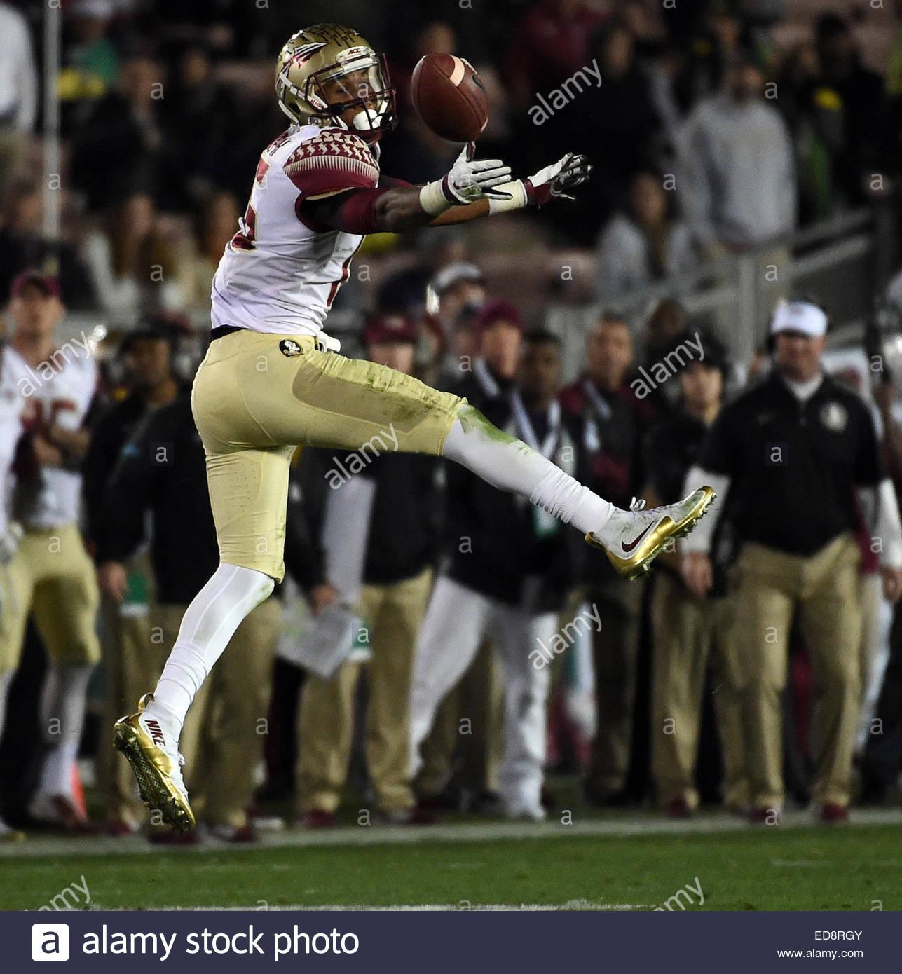 Pasadena, California, USA. 01st Jan, 2015. Florida State Seminoles wide receiver Travis Rudolph (15) drops a pass - Stock Image