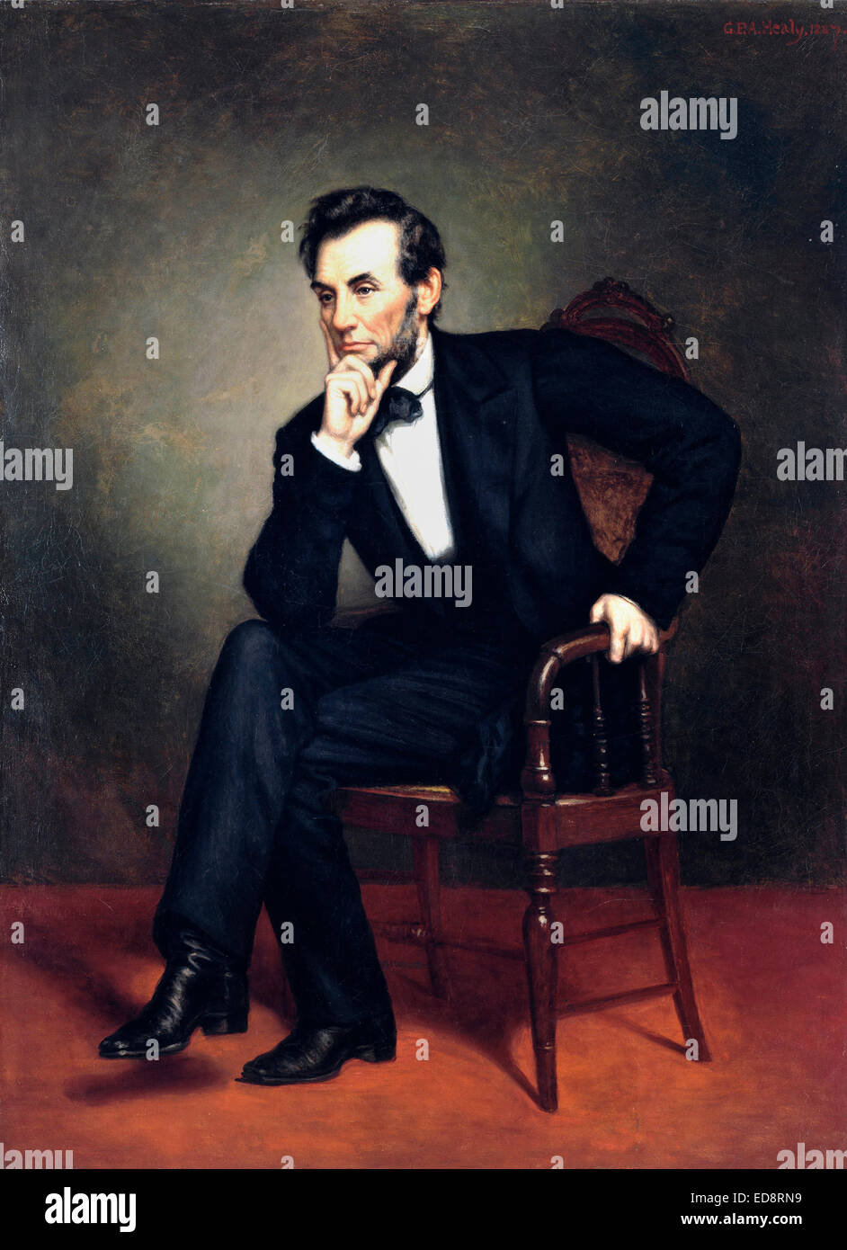 George Peter Alexander Healy, Portrait of Abraham Lincoln 1887 Oil on canvas. Smithsonian American Art Museum, Washington, - Stock Image
