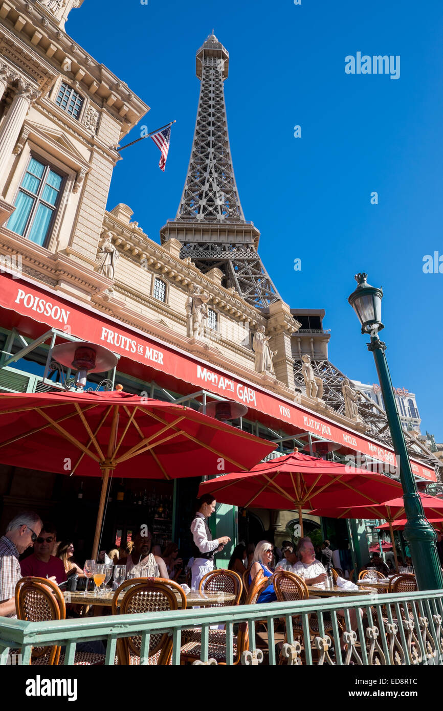 Exterior of Paris Las Vegas at Las Vegas Boulevard. - Stock Image