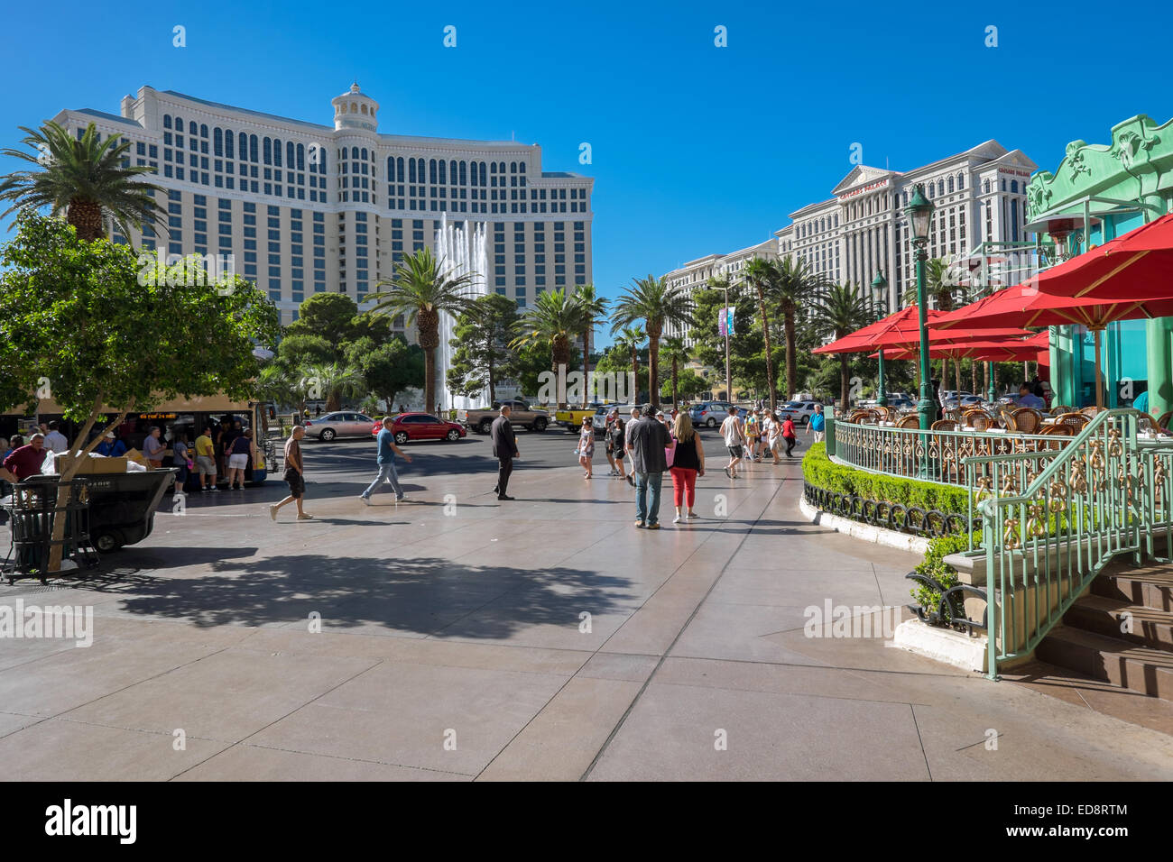 Exteriors of Bellagio (left) and Caesar's Palace (right) at the other side of Las Vegas Boulevard. - Stock Image