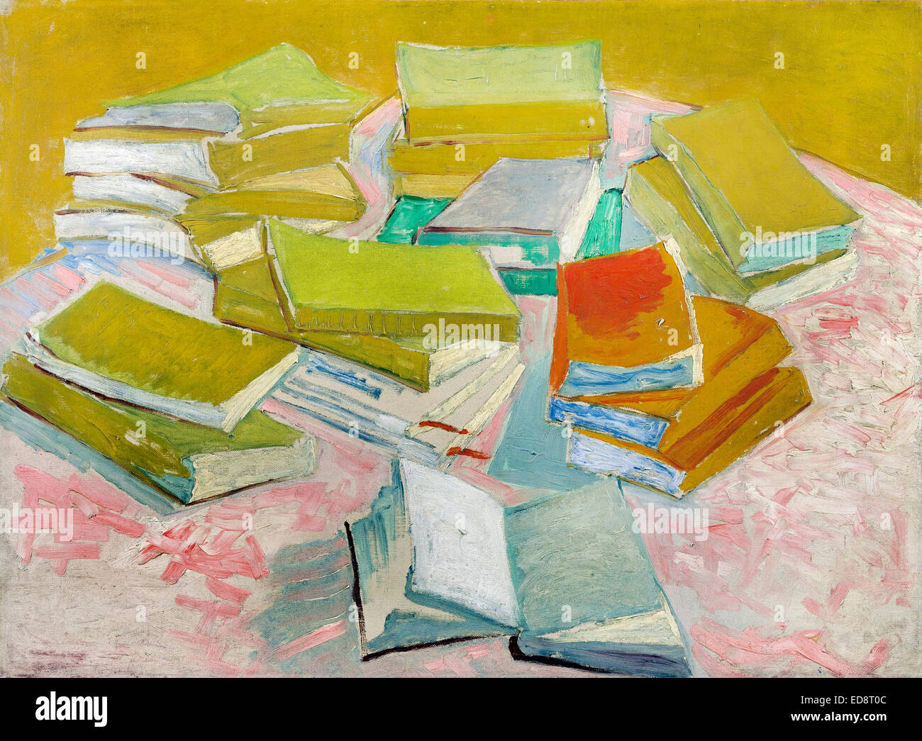 Vincent van Gogh, Piles of French Novels 1887 Oil on canvas. Van Gogh Museum, Amsterdam, Netherlands. - Stock Image