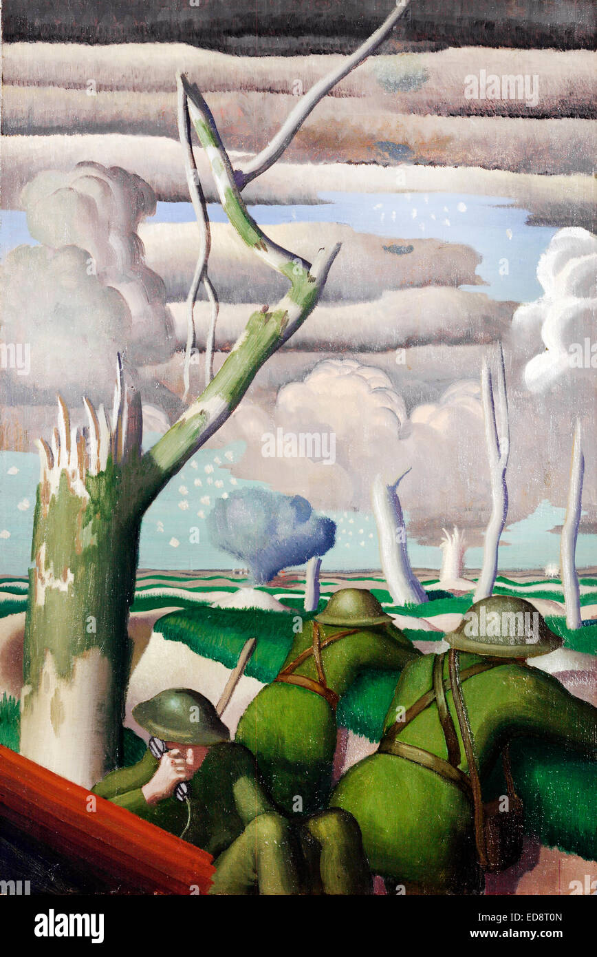 Colin U Gill, Observation of Fire 1919 Oil on canvas. Imperial War Museum, London, UK. Stock Photo