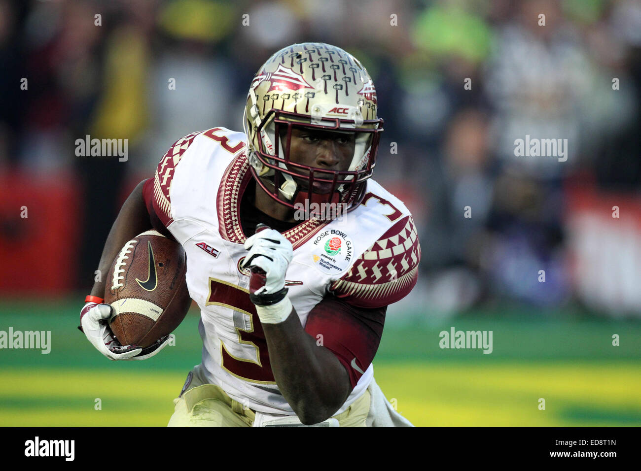 Pasadena, CA. 1st Jan, 2015. January 01, 2015 Florida State Seminoles wide receiver Jesus Wilson #3 carries the - Stock Image