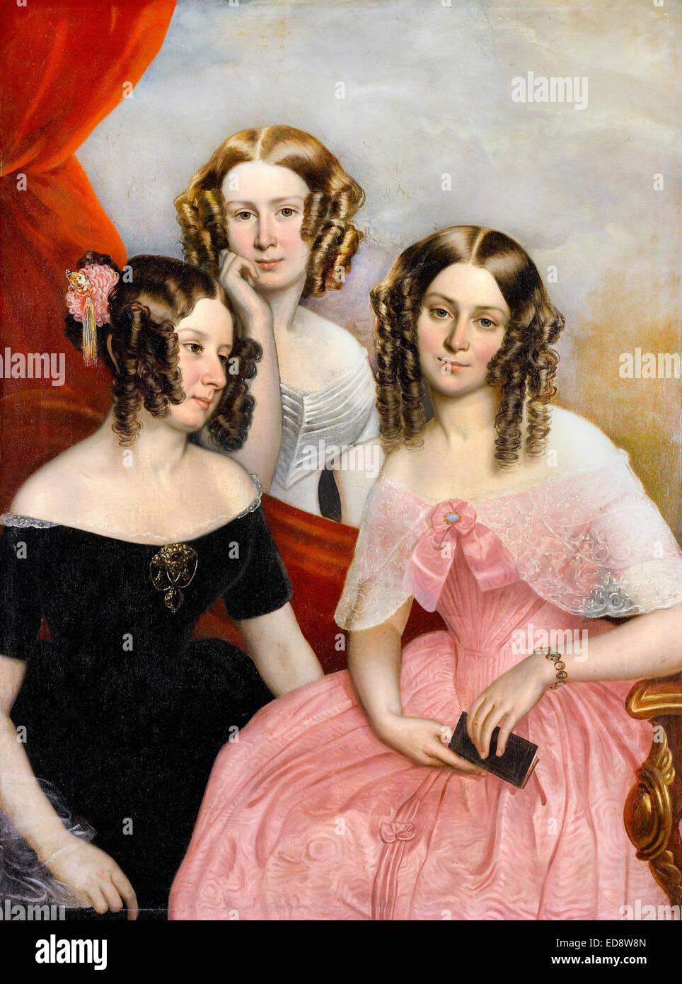 George Theodore Berthon, The Three Robinson Sisters 1846 Oil