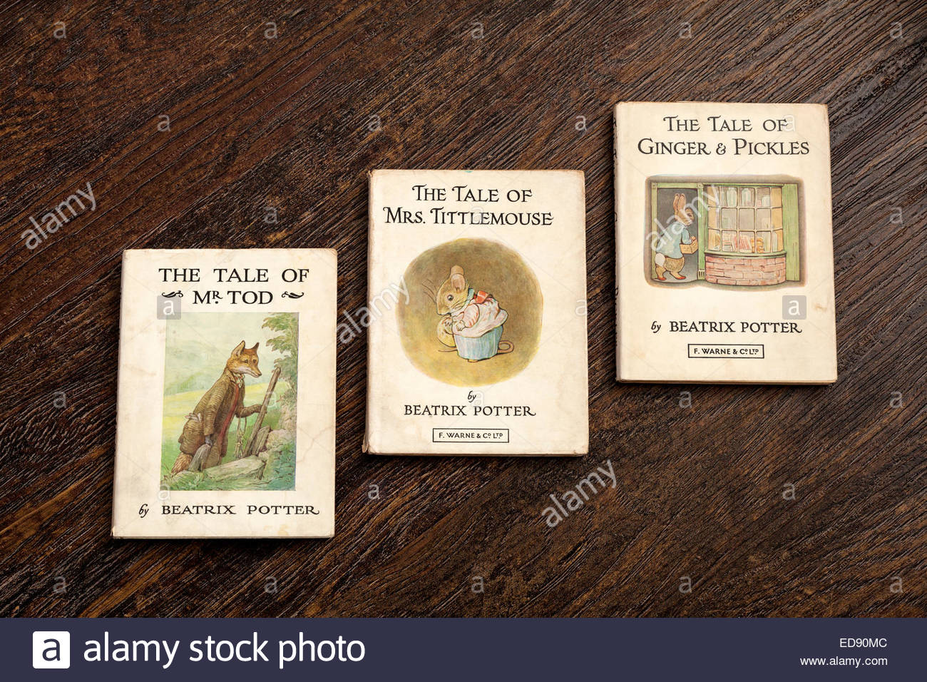Beatrix Potter Books - The Tale of Mr Tod - The Tale of Mrs Tittlemouse - The Tale of Ginger and Pickles - Stock Image