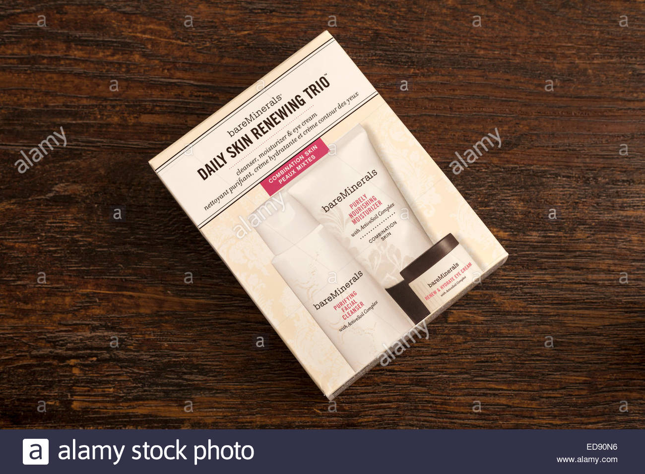 Bare Minerals Daily Skin Renewing Trio box.  For Editorial Use. - Stock Image