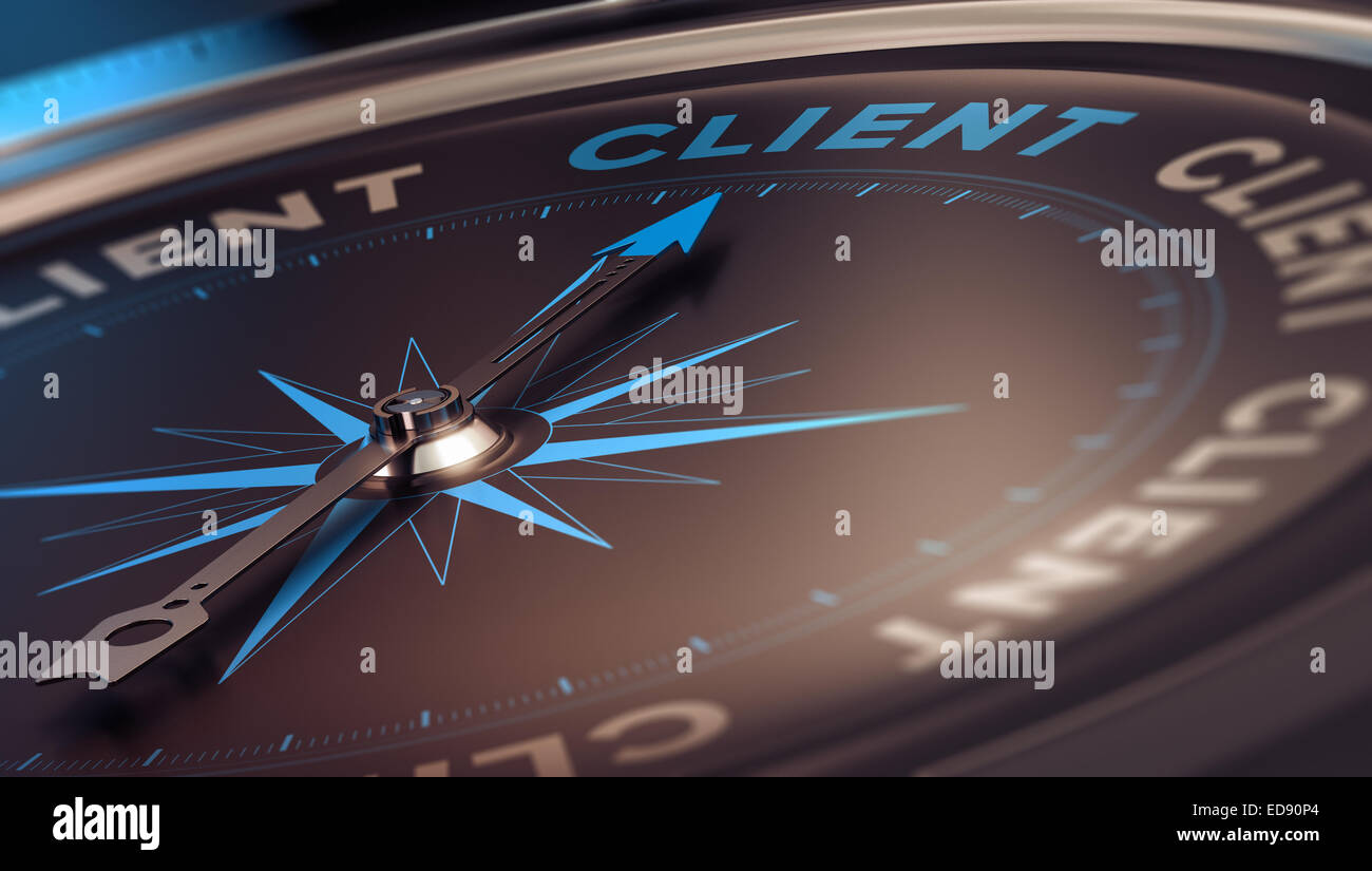 Compass with needle pointing the word client, concept image to illustrate CRM, customer relationship management. - Stock Image