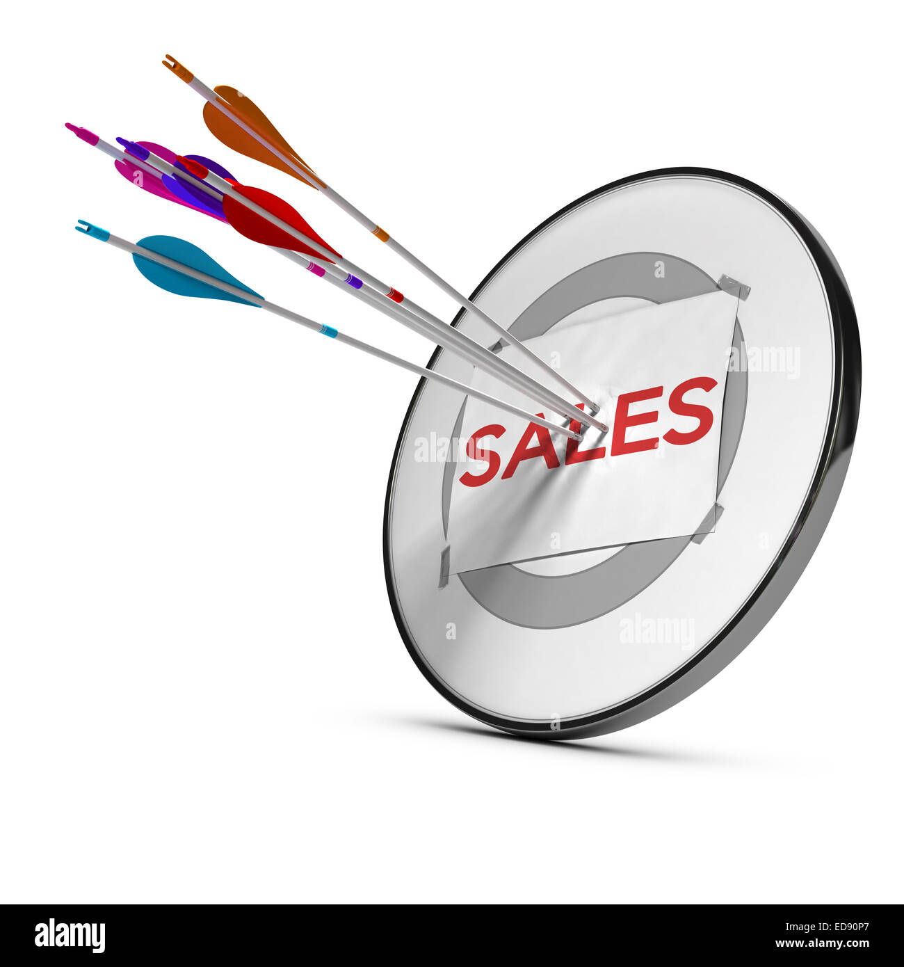 Five arrows hitting the center of a sheet of paper with the word sales fixed on a modern target. Concept to illustrate - Stock Image