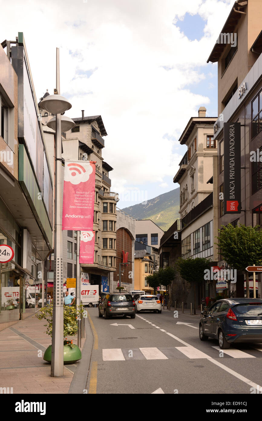 ANDORRA LA VELLA, ANDORRA-SEPTEMBER 9-  Residents and tourists stroll through the streets on September 9,2014 in Stock Photo