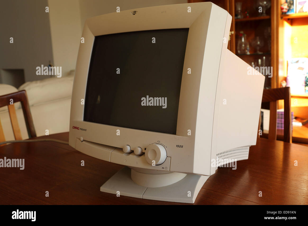 A Compaq 1525 monitor for a home computing set up. The monitor was produced in the 1990s. - Stock Image