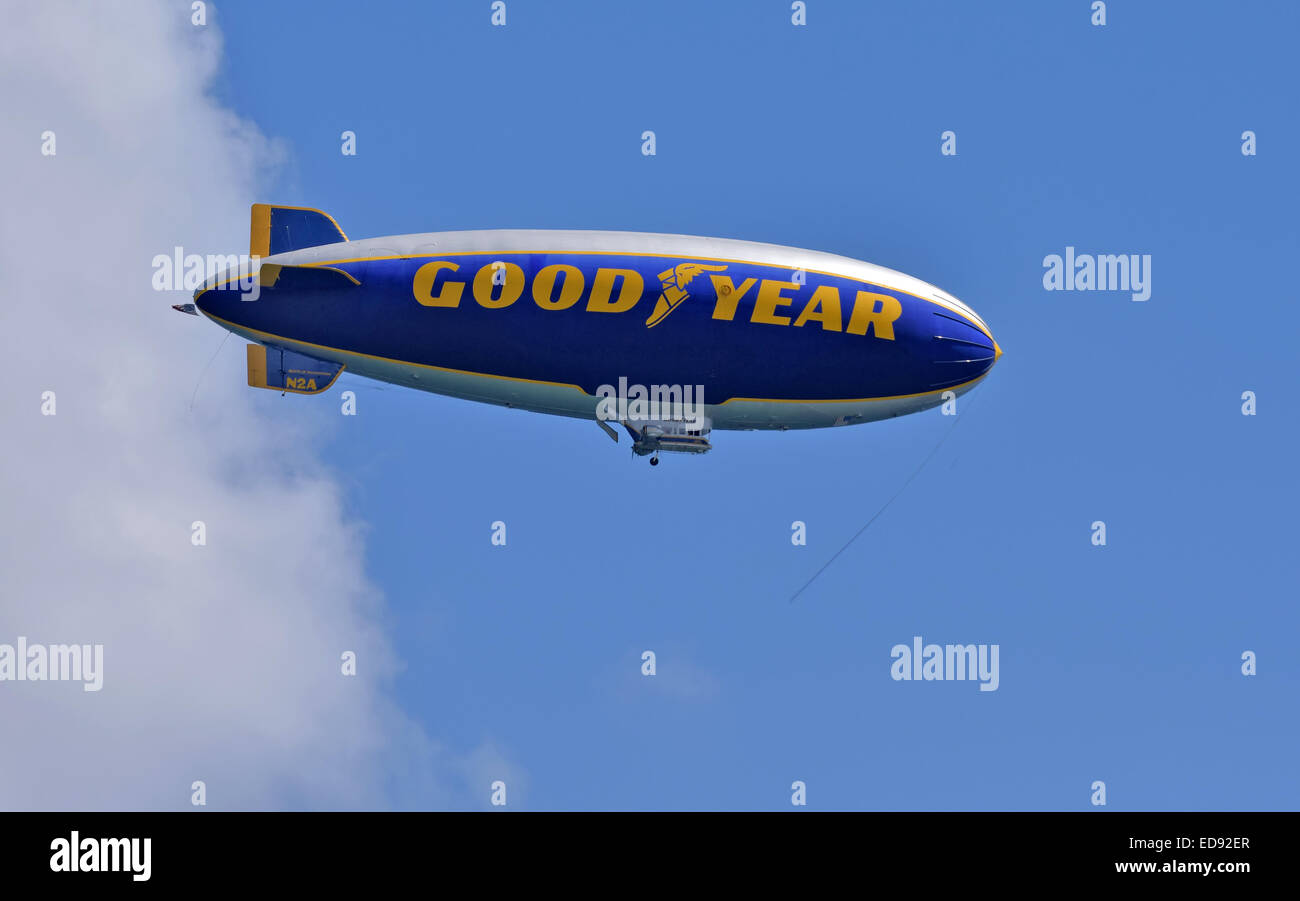 FORT LAUDERDALE - OCTOBER 11: Good Year blimp flies up and down the Florida coastline near Fort Lauderdale on October - Stock Image