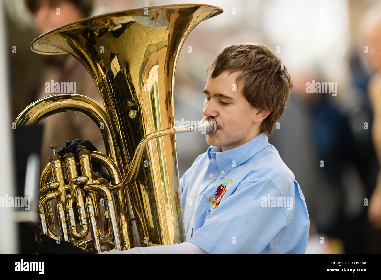 A young man playing tuba in a brass band UK - Stock Image