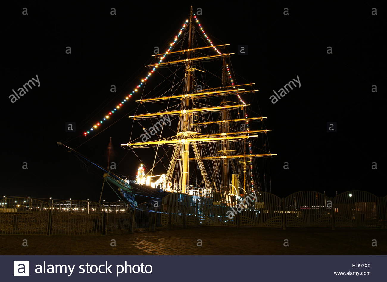 RRS Discovery at night Discovery Point Dundee Scotland  December 2014 - Stock Image