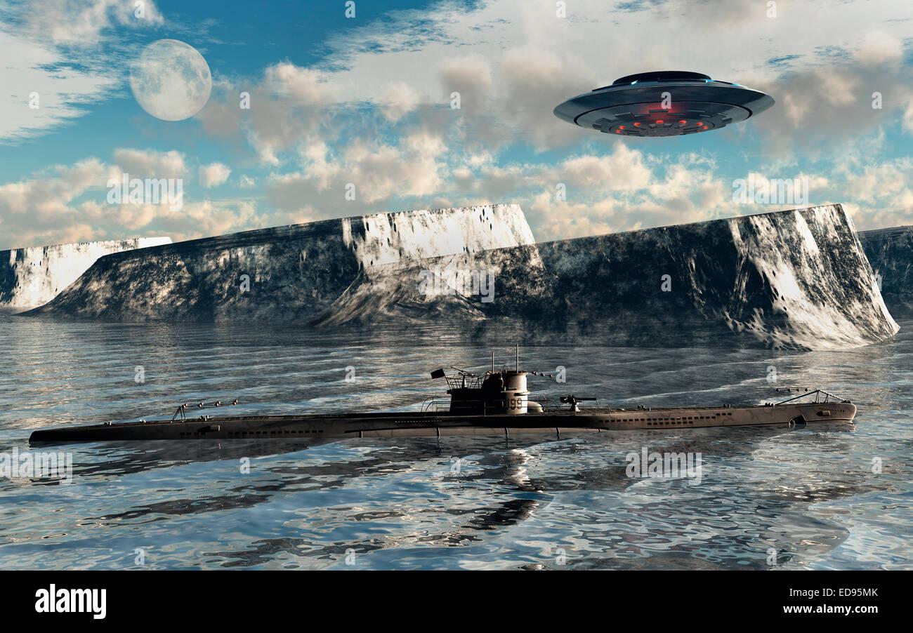 Secret Nazi Base 'Station 211' At The Antartic. - Stock Image