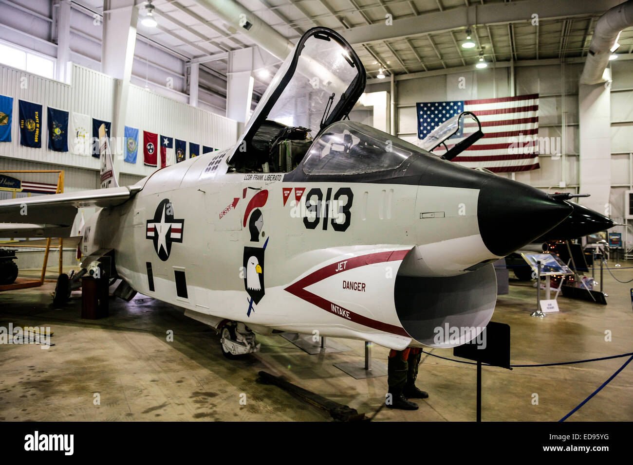 A LTV A-7 Corsair Carrier based Naval fighter plane at the USS Alabama Memorial Park in Mobile - Stock Image