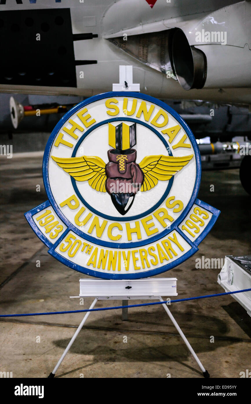 The Sunday Punchers Naval Air Squadron logo insde the aviation museum at the USS Alabama Memorial Park in Mobile - Stock Image