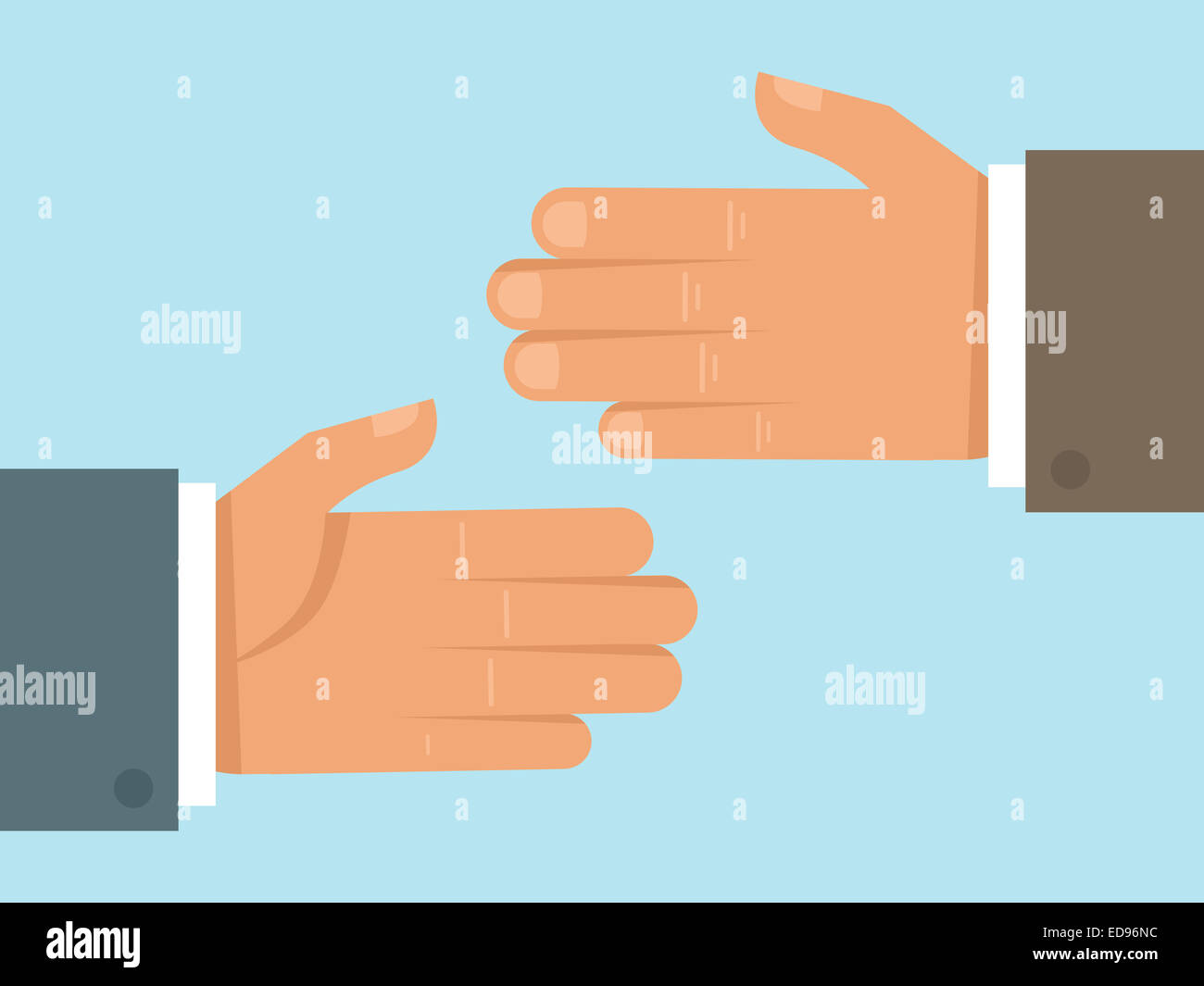 Handshake concept in flat style - cooperation and partnership concept in flat style - Stock Image
