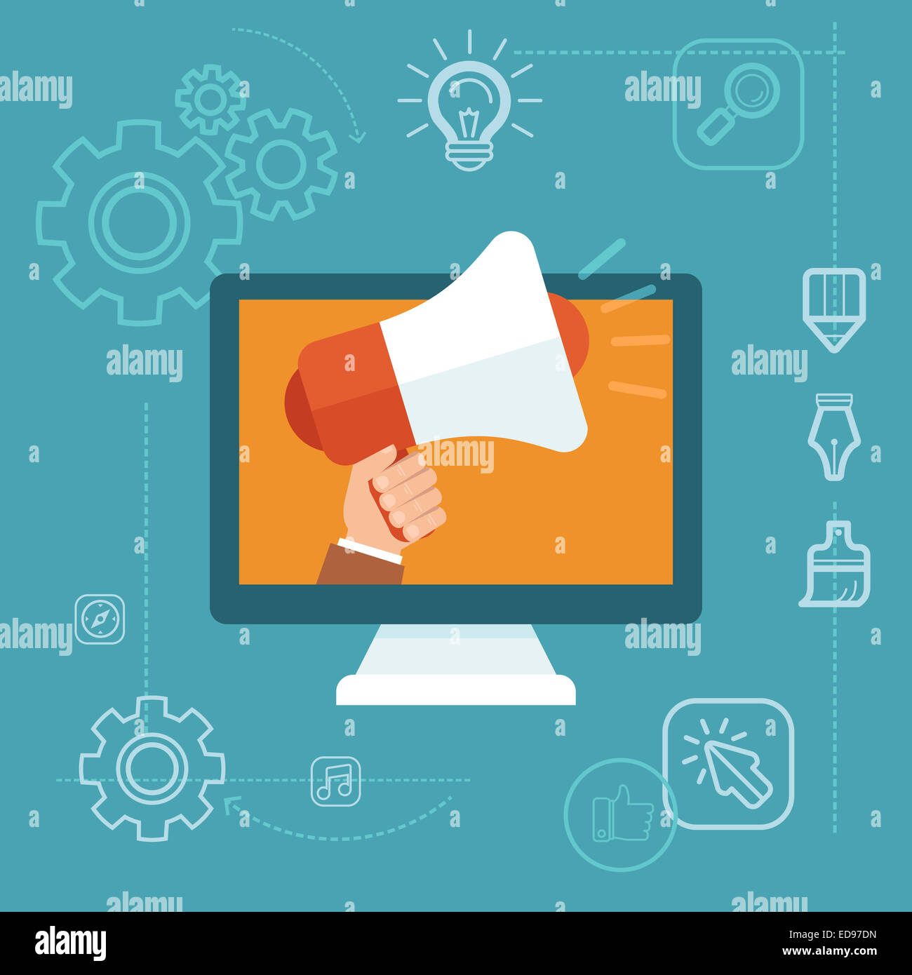 Digital marketing concept in flat style - hand holding megaphone - online advertising campaign development - Stock Image