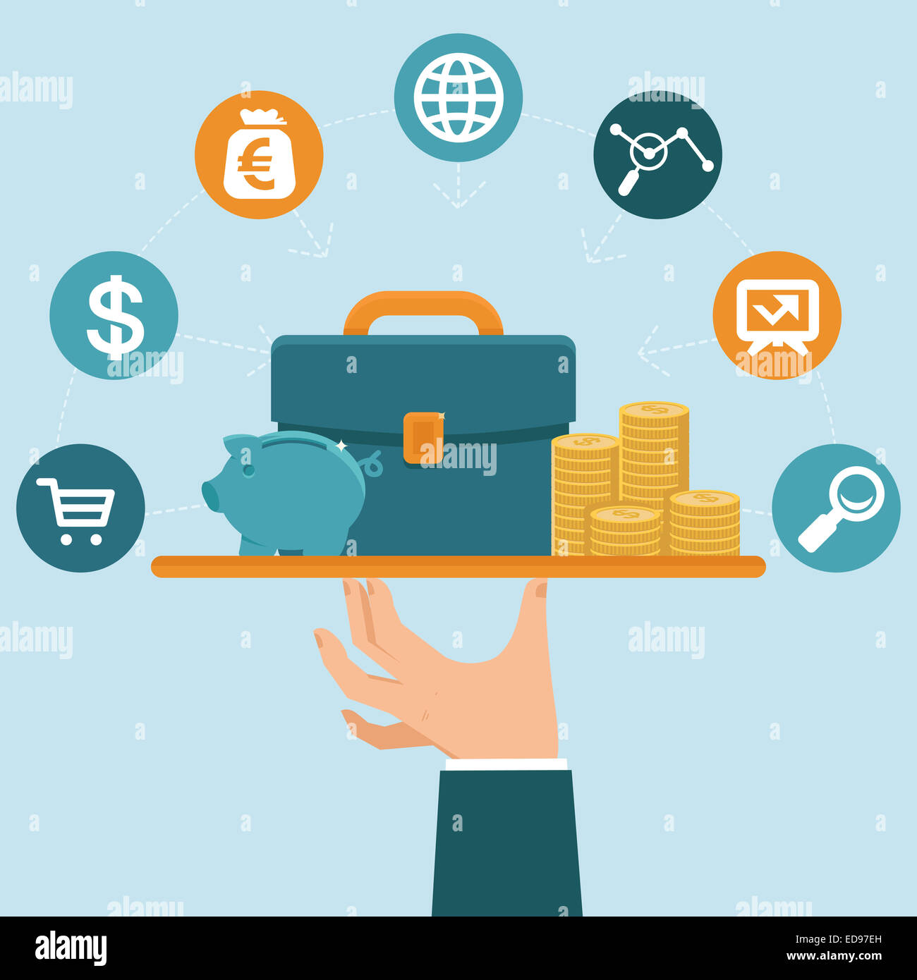 Banking service concept in flat style - businessman's hand with serve plate - special offer - investment and - Stock Image
