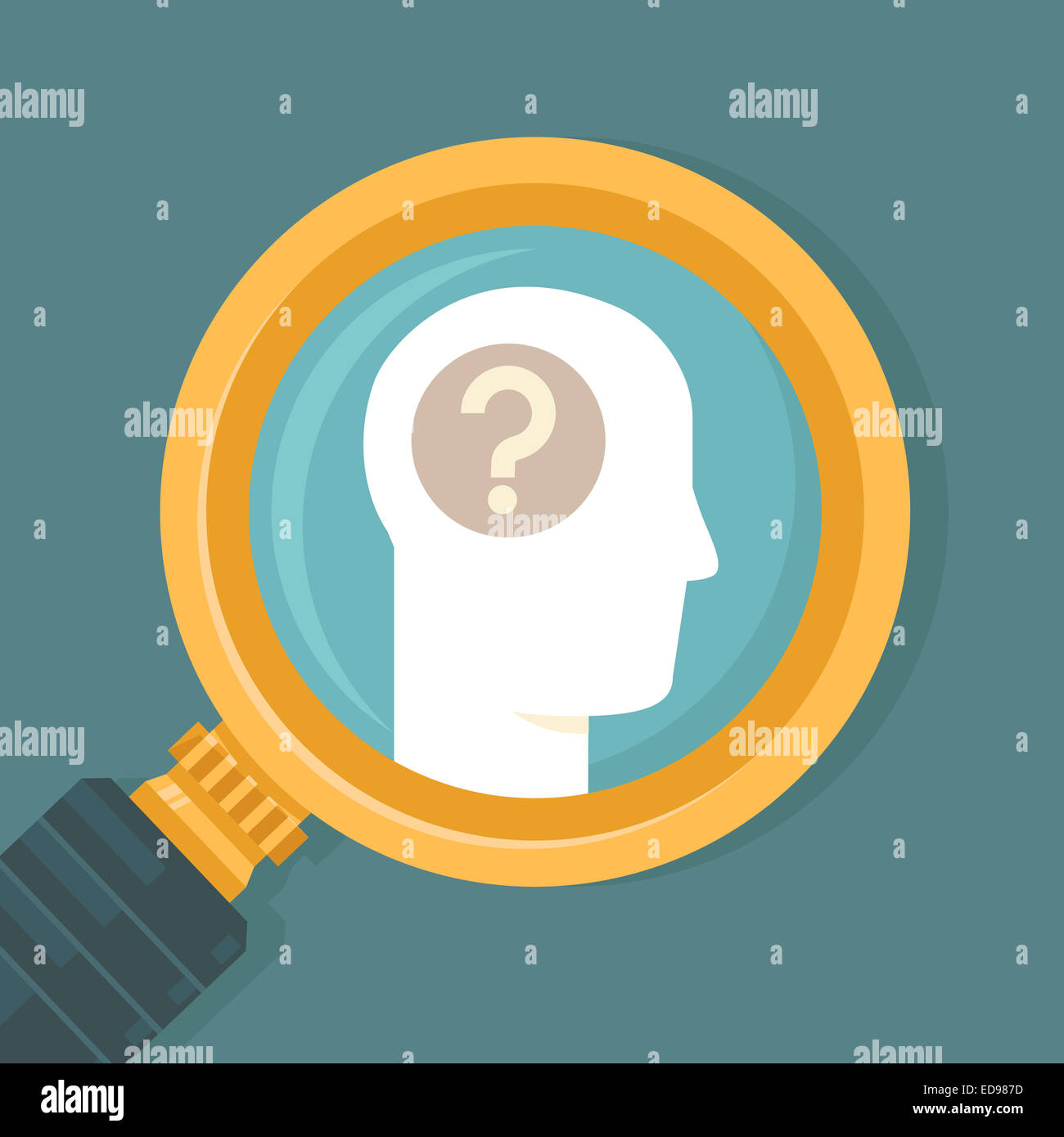 Psychology concept in flat style - human brain icon and magnifier - Stock Image