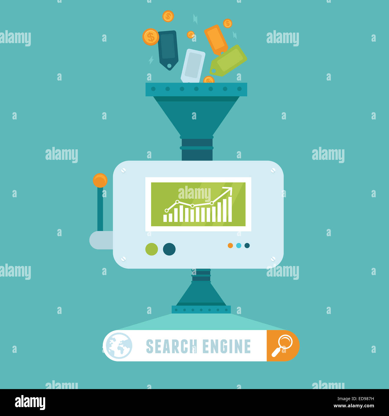 Search engine concept in flat style - Stock Photo