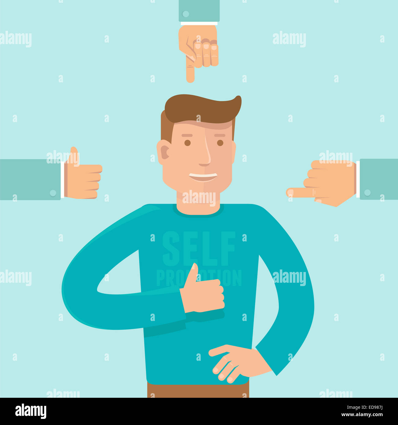 Self promotion concept in flat style - man showing like sign and business hands pointing at him - Stock Image
