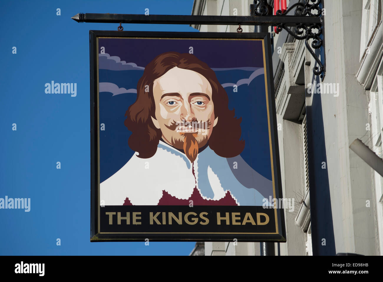 pub sign for the kings head, acton, london, england, showing image of charles I - Stock Image