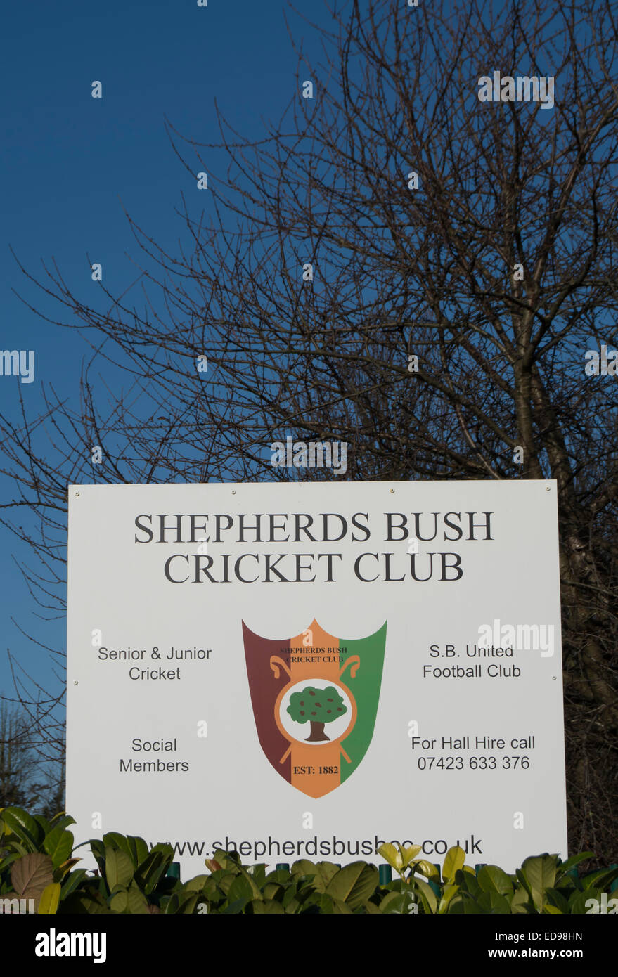 sign for shepherds bush cricket club, and shepherds bush united football club, east acton, london, england - Stock Image