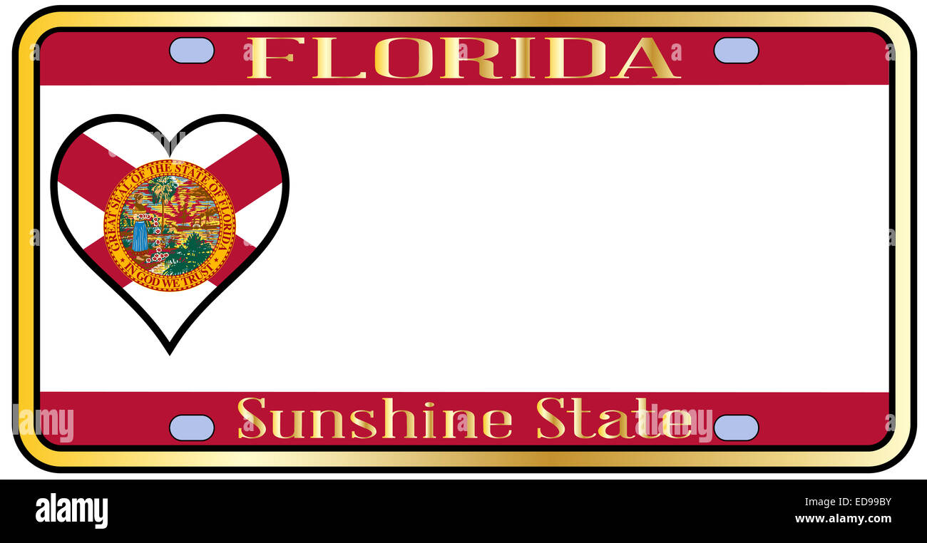 2050509e406 Florida state license plate in the colors of the state flag with the flag  icons over