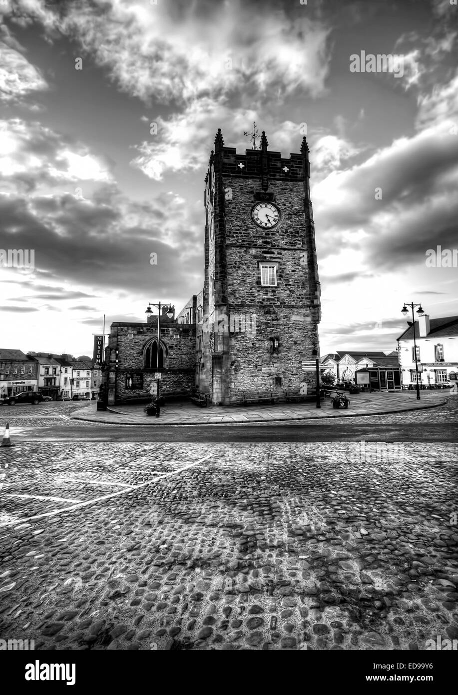 The Market Place in Richmond, North Yorkshire taken at 5am on a Sunday morning. - Stock Image