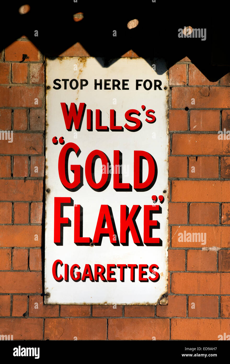 Will`s Gold Flake enamel sign at the Gloucestershire and Warwickshire Railway, Toddington, Gloucestershire, UK - Stock Image