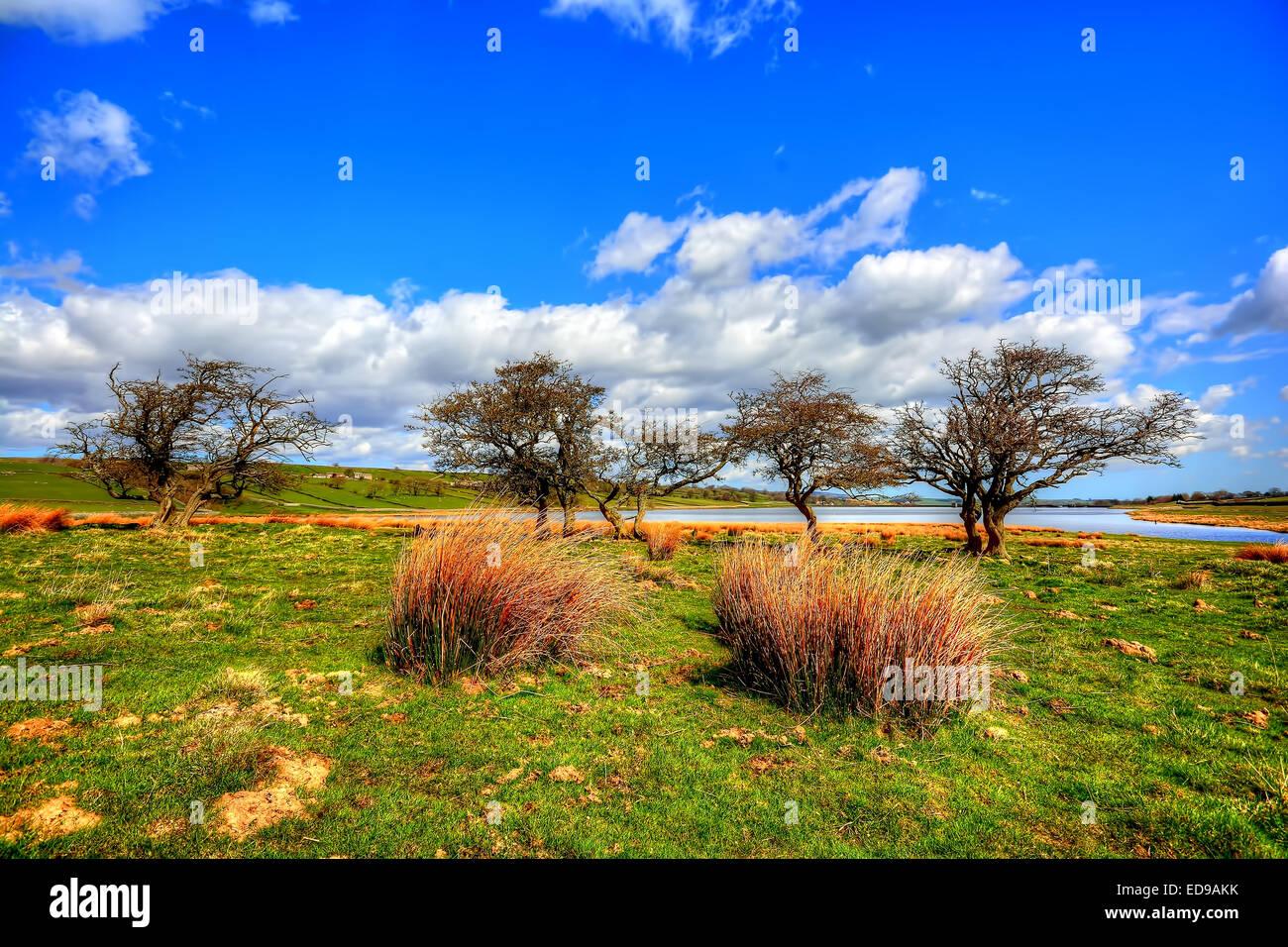 Hury Reservoir sits in Baldersdale in Upper Teesdale County Durham - Stock Image