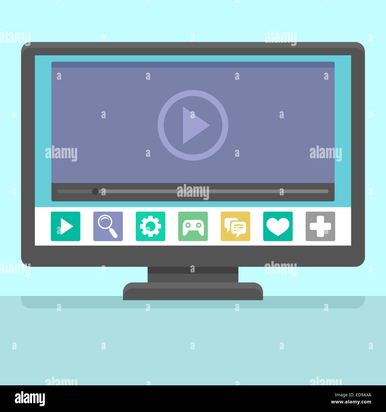 Smart tv concept - illustration in flat style with apps and