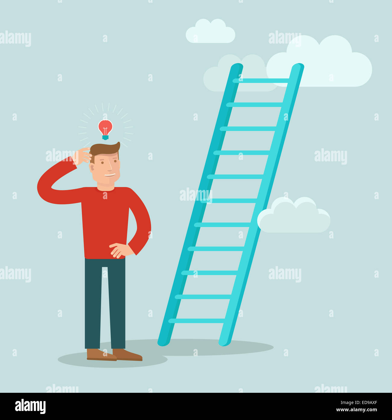 Business concept in flat style - male character solving problem how to improve career and achieve success - Stock Image