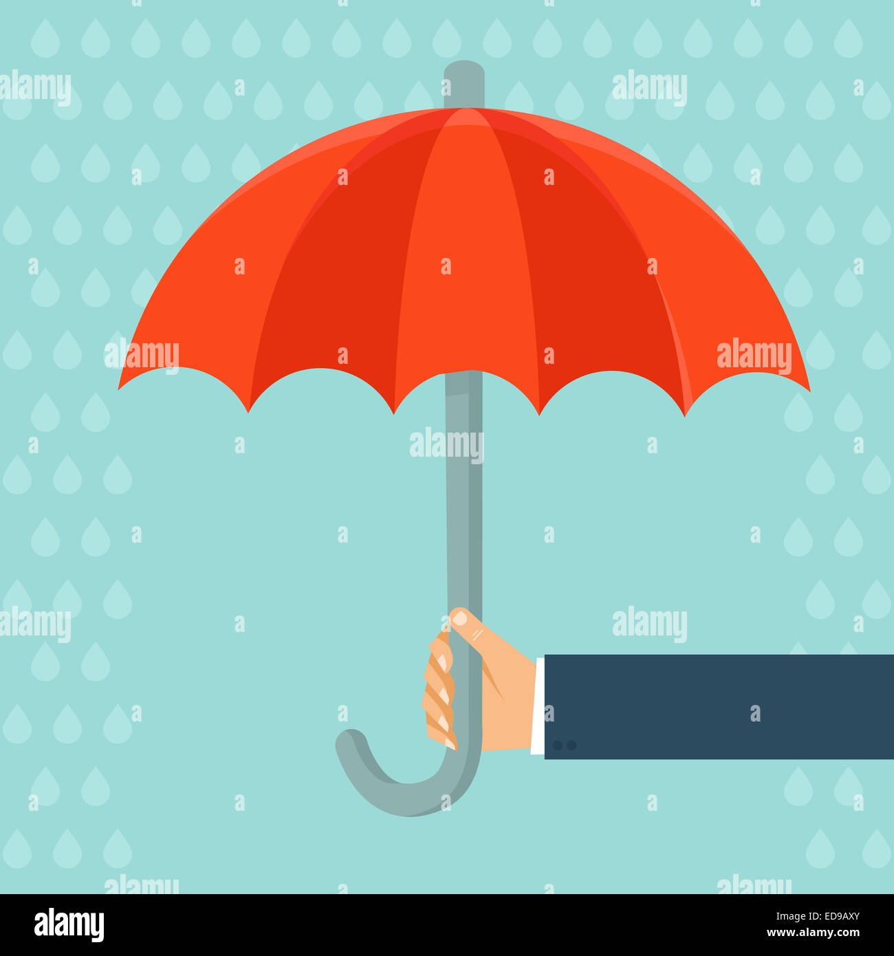 Insurance agent holding umbrella - concept in flat style - Stock Image
