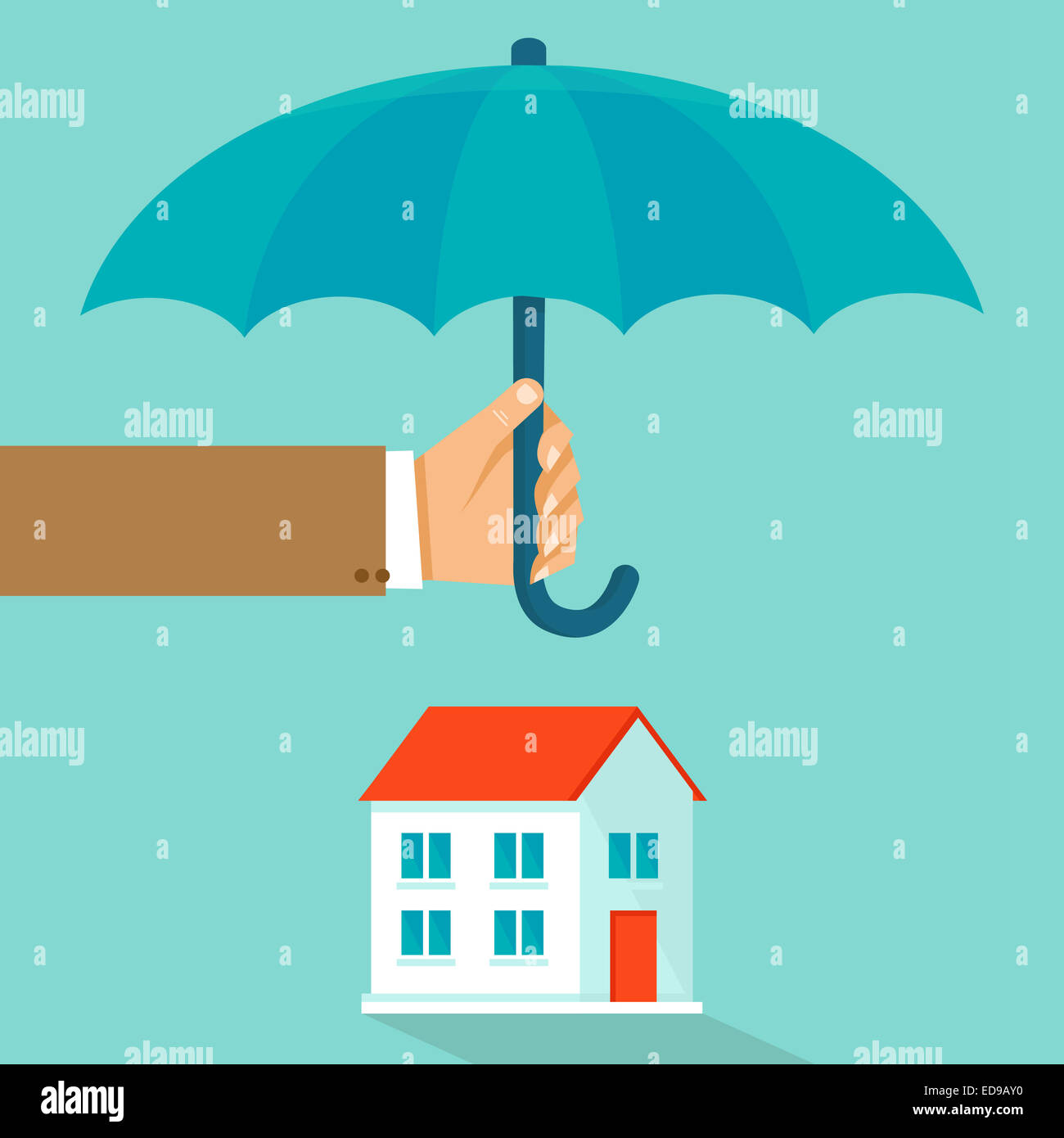 House insurance concept in flat style - infographic design elements and icons - agent's hand holding umbrella - Stock Image