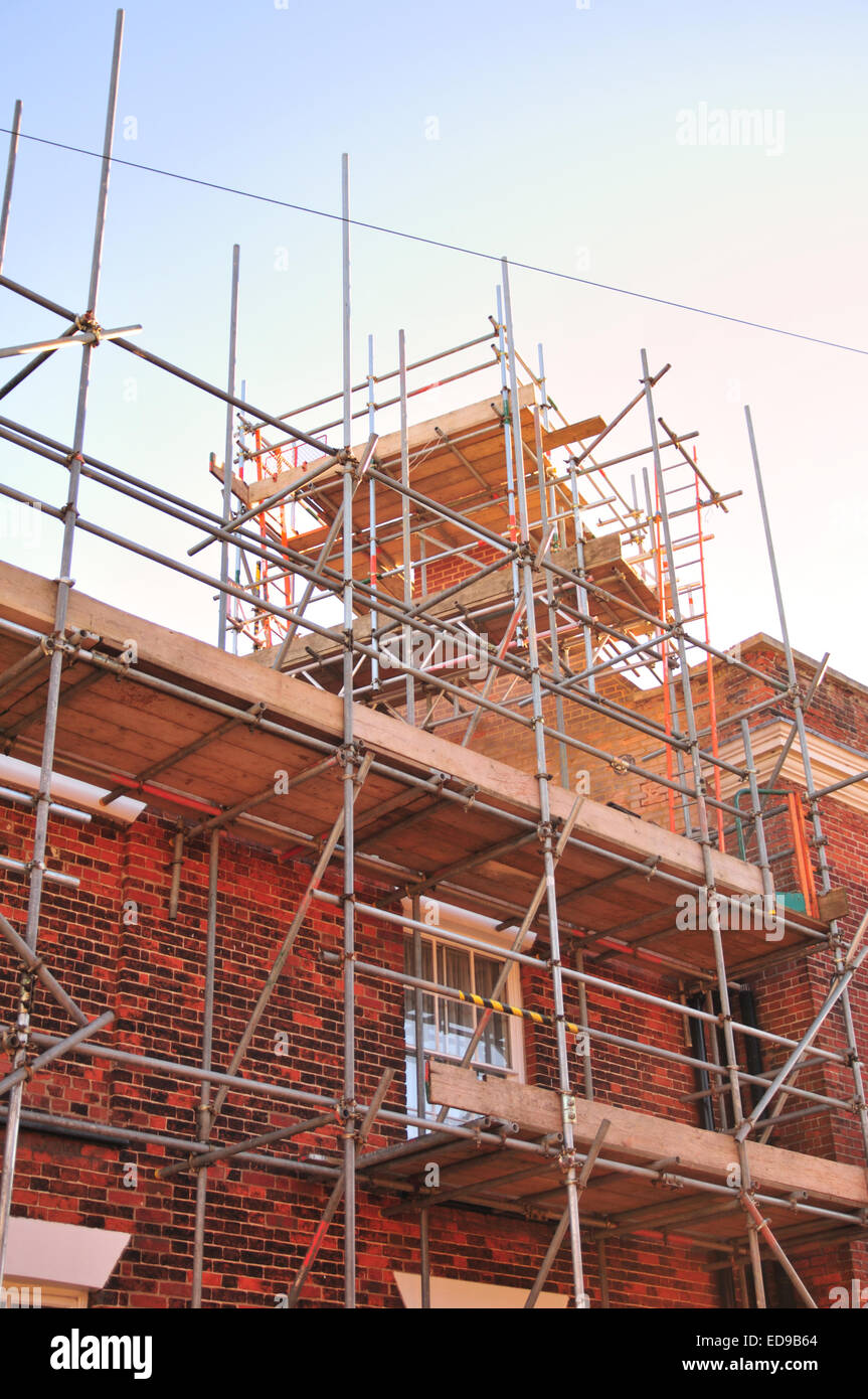 Scaffolding around house in Beccles, Suffolk - Stock Image