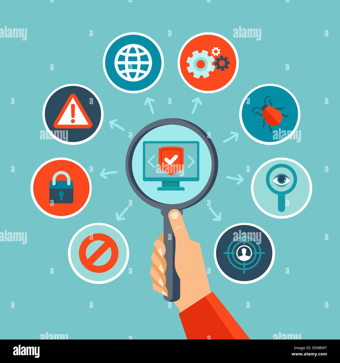 Internet security concept in flat style - infographics design elements and icons - Stock Image