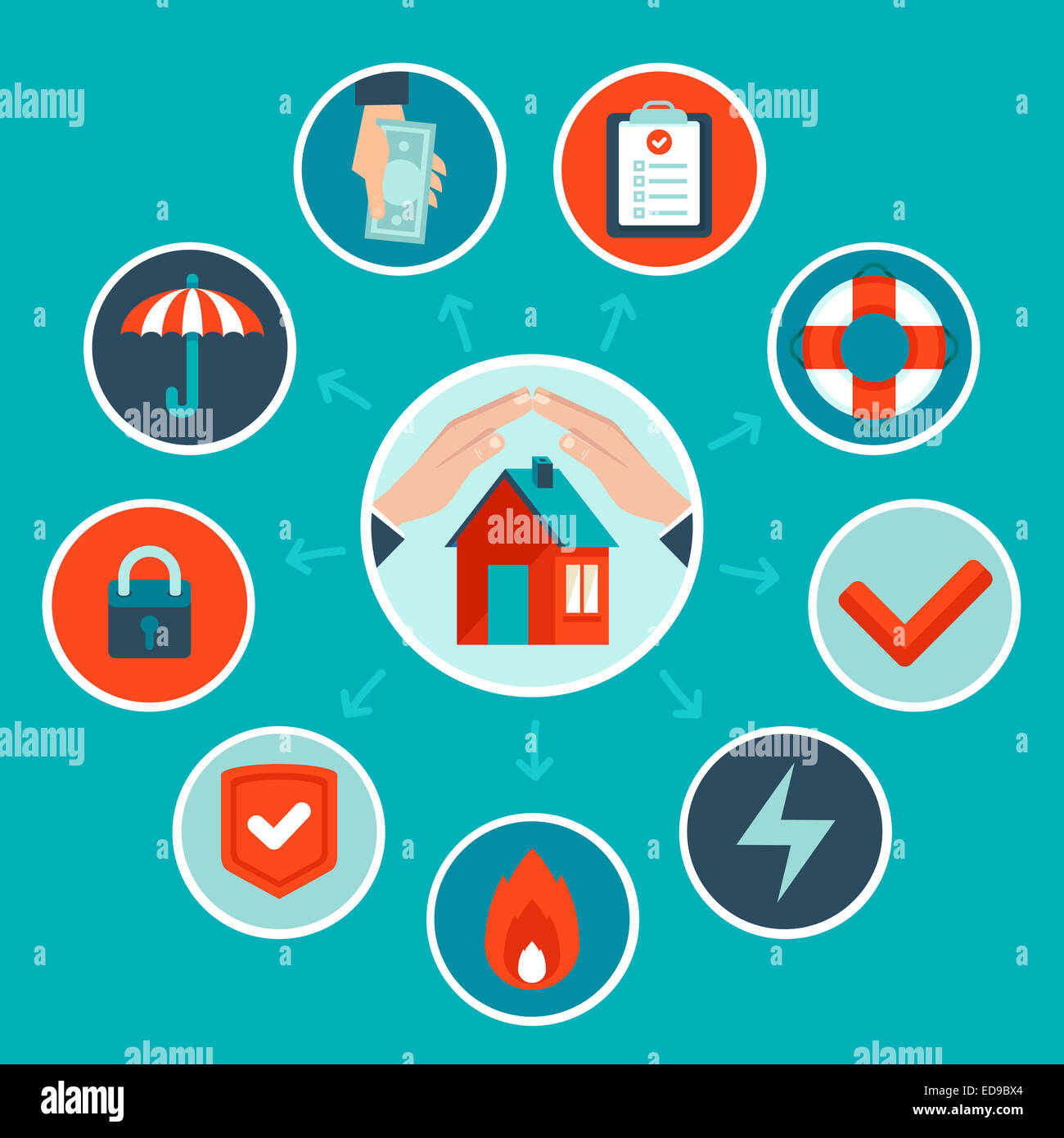 House insurance concept in flat style - infographic design elements and icons - Stock Image