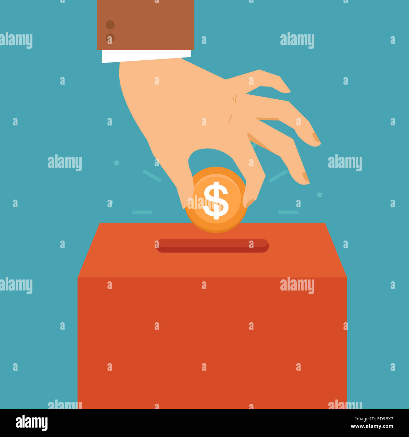 Donation concept in flat style - hand putting coin in the box for charity organization - Stock Image