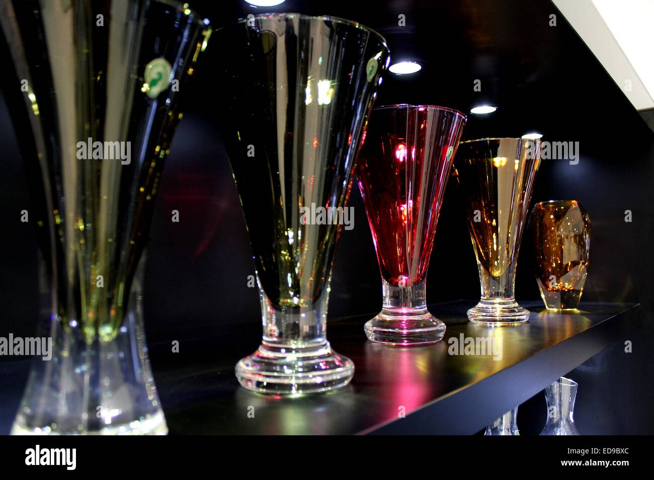 Beautiful glasses on display at Waterford Crystal headquarters in Ireland - Stock Image