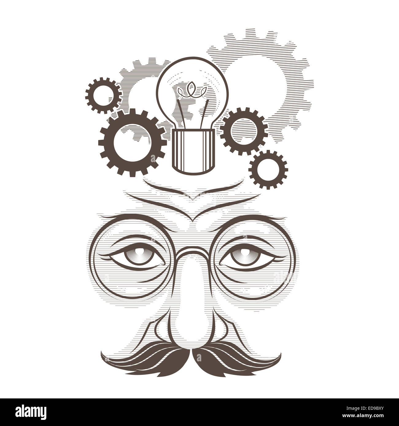 Illustration of human head, gears and lamp as thinking process drawn in engraving retro style isolated on white - Stock Image