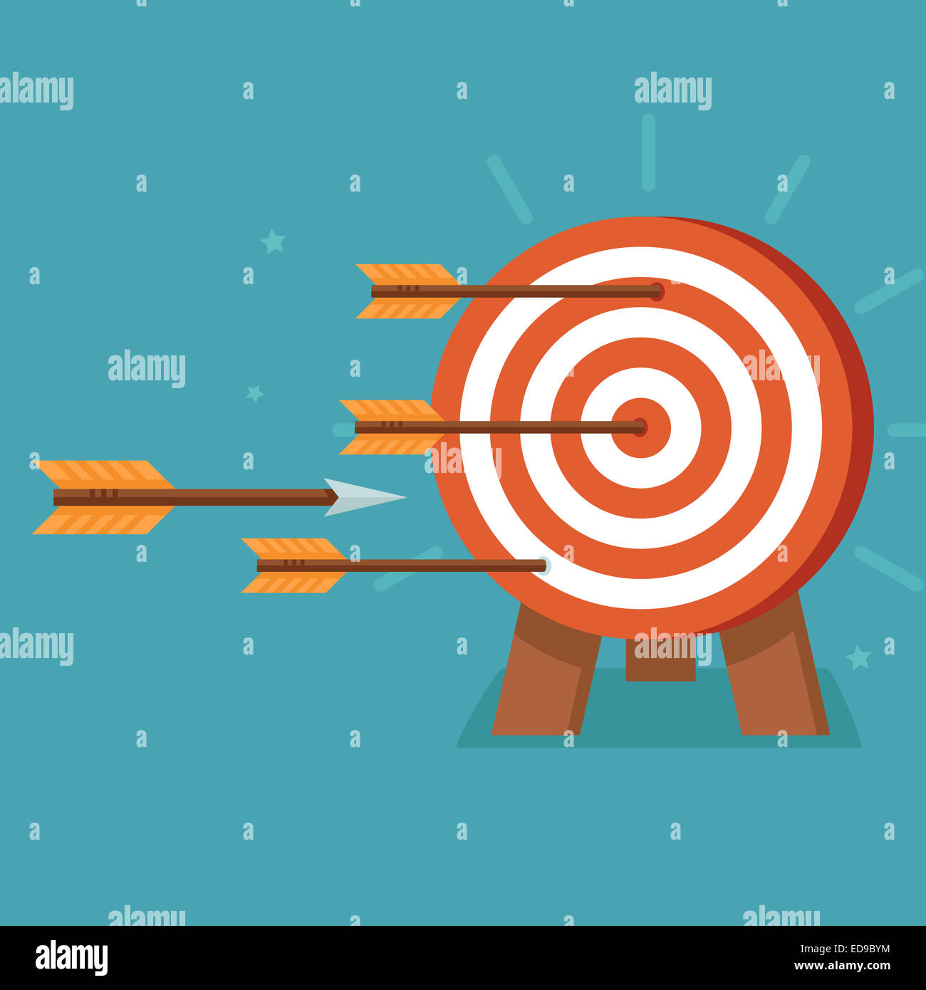Aim with arrows on flat style - achievement goals concept - Stock Image
