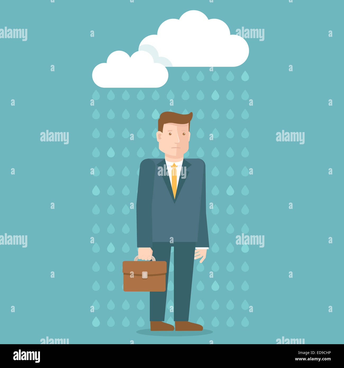 Bad day concept in flat style - businessman under the rain cloud - depressed and tired - Stock Image