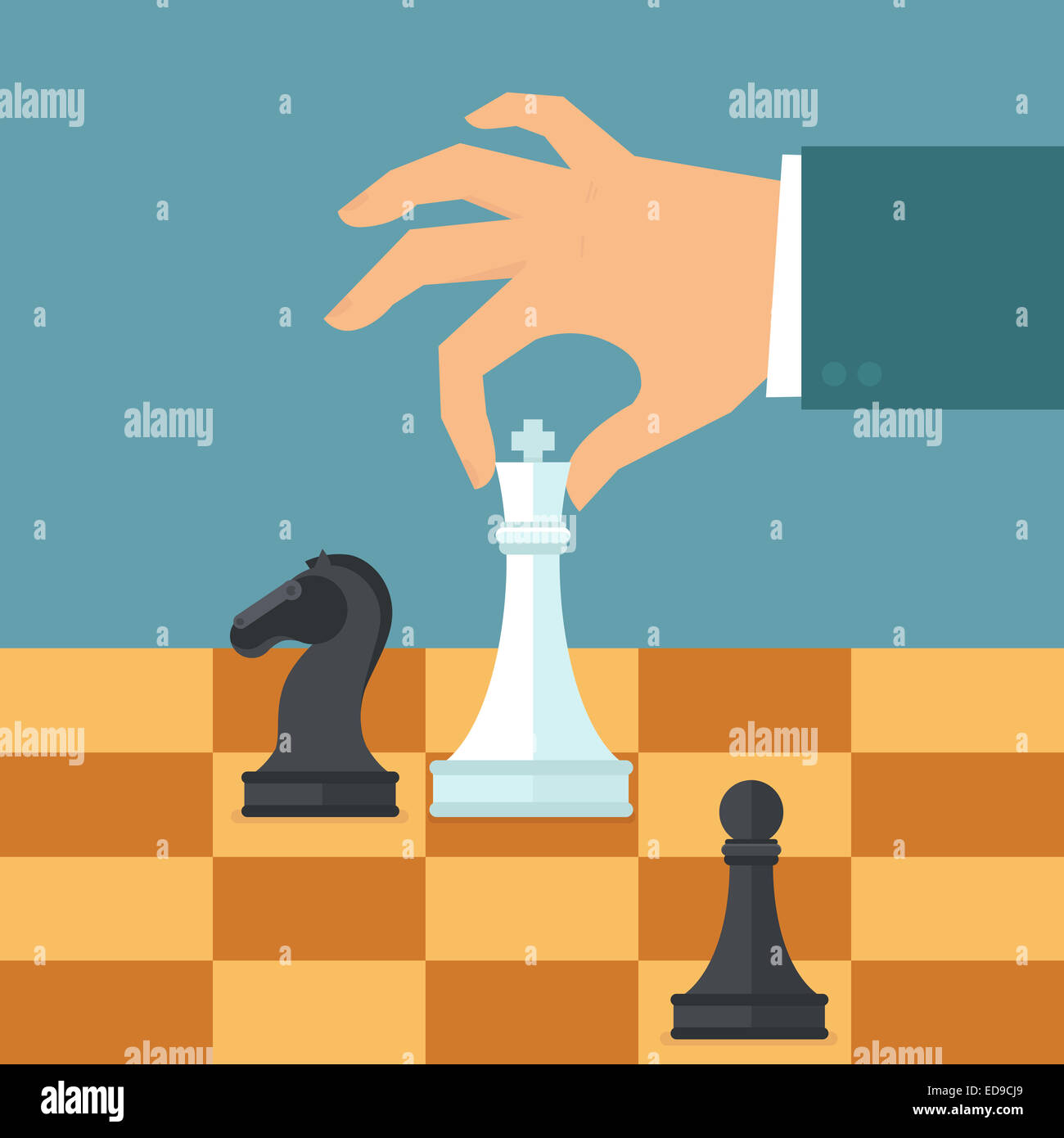 Business strategy concept in flat style - male hand holding chess figure - planning and management - Stock Image